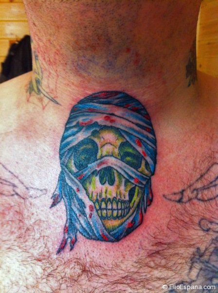 Crazy Skull Tattoo with bandana