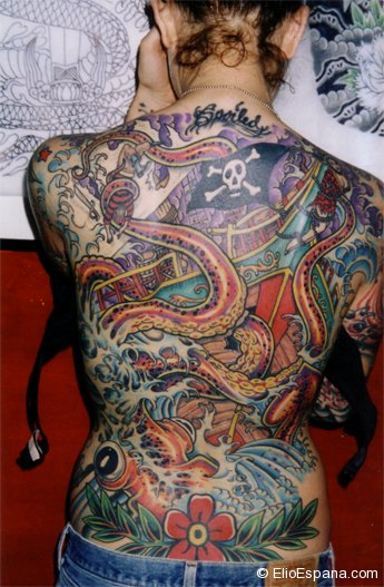 Octopus and Pirate Ship Tattoo-full back